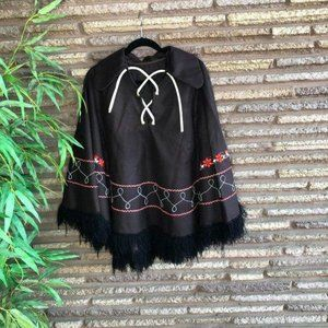 Vintage Brown Floral Embroidered Cape Poncho